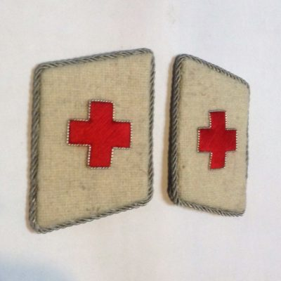 GERMAN ARMY RED CROSS Collar Tabs EMBROIDERED CROSS