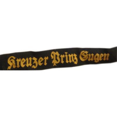 KRIEGSMARINE PRINZ EUGEN Cap tally Bevo German WW2 ON BLACK